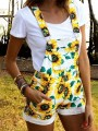 Yellow Pockets Sunflower And Leaves Print Shoulder-Strap Overall Pants Cute Short Jumpsuit