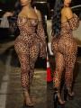 Multicolor Bandeau Grenadine Leopard Print Flare Long Sleeve Sheer Bodyuit Clubwear Hot Long Jumpsuit