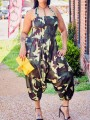 Green Camouflage Print Pockets Halter Neck Backless Sleeveless Harem Pants Casual Long Jumpsuit