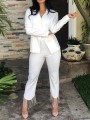 White Patchwork Rhinestone Fringe Buttons Tailored Collar V-neck Blazer Suits Two Piece Glitter Sparkly Long Jumpsuit
