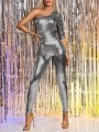 Metallic Silver Puff Long Sleeve Ruched Bodysuit Long Jumpsuit