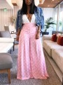 Pink Polka Dot Pleated High Waiste Bell Bottomed Flares Long Pant