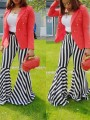 Black-White Striped High Waisted Party Bell Bottomed Flares Long Pant