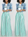 White Striped High Waisted Casual Wide Leg Palazzo Long Pant