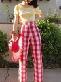 Red-White Plaid Zipper High Waisted Flare Bell Bottom Vintage Long Pants