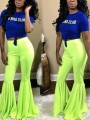 Neon Green Draped High Waisted Extreme Flare Bell Bottom Vintage Long Pants
