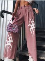 Pink Letter Restyle Witchcraft Gothic High Waisted Wide Leg Cargo Casual Long Pants