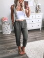 Grey Drawstring Pockets Bodycon Comfy Going out Pants