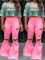 Pink Buttons Zipper High Waisted Ripped Destroyed Flare Bell Bottom Casual Long Jeans