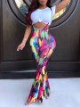 Red Colorful Tie Dye Overall Wide Leg Palazzo Casual Long Pants