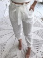 White Patchwork Lace Sashes Pockets High Waisted Long Pants