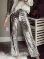 Silver Sequin Glitter Sparkly High Waisted Fashion Long Pants