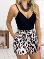 Pink Leopard Belt Pockets High Waisted Fashion Short Pant