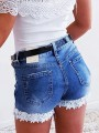 Blue Patchwork Lace Pockets Buttons High Waisted Short Jeans