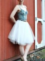 White Grenadine Fluffy Puffy Tulle High Waisted Homecoming Party Skirt