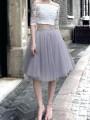 Light Grey Draped Tulle Tutu High Waisted Elegant Skirt