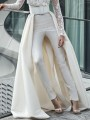 White Irregular High Waisted Detachable Train Wedding Banquet Party Long Skirt