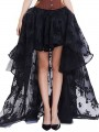 Black Patchwork Lace Irregular High-Low Fluffy Puffy Tulle Party Skirt