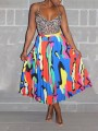 Light Blue Colorful Pleated High Waisted Homecoming Party Skirt