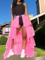 Neon Pink Patchwork Layers Of Grenadine Buckle Belt Slit High Waisted Hot Clubwear Adorable Tulle Tutu Maxi Skirt