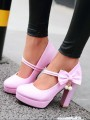 Pink Round Toe Chunky Bow Pearl Sweet Fashion High-Heeled Shoes