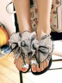 Grey Round Toe Bow Rhinestone Fashion Flat Sandals