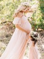 Pink Patchwork Lace Trailing Off Shoulder Maternity Dress