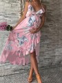 Pink Floral Irregular Ruffle Spaghetti Strap High-low Flowy Baby Shower Bohemian Maternity Dress