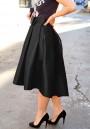 Black Pleated Irregular Bow High-Low Tutu High Waisted Party Skirt