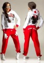 Red Mickey Print Pockets 2-in-1 Hooded Casual Long Jumpsuit