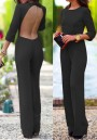 Black Plain Cut Out Backless Long Sexy Jumpsuit