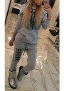 Grey Pockets Tiger Print Drawstring Two Piece Hooded Long Sleeve Long Jumpsuit