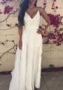 White Plain Lace Condole Belt Draped V-neck Sexy Maxi Dress