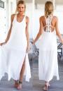 White Patchwork Lace Backless Loose Chiffon Dress