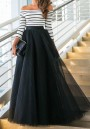 Black Patchwork White Striped Pleated Grenadine Boat Neck Maxi Dress