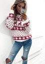 Red Floral Round Neck Long Sleeve Fashion Christmas Sweatshirt