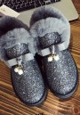 Grey Round Toe Flat Sequin Fashion Ankle Shoes