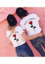 Red Monogram Rose Print Going out Casual Valentine's Day T-Shirt