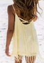 Light Yellow Polka Dot Tassel Condole Belt Pleated Sleeveless Mini Dress