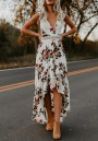 White Floral Ruffle Short Sleeve Fashion Maxi Dress