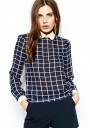 Black Plaid V-neck Long Sleeve Chiffon Blouse