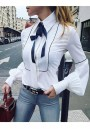 White Buttons Turndown Collar Long Sleeve Fashion Blouse