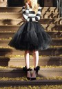 Black Plain Grenadine Fluffy Puffy Tulle Layers Of Knee Length High Waisted Adorable Tutu Skirt