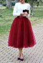 Burgundy Grenadine Pleated Tulle Tutu High Waisted Skirt