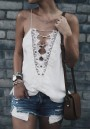 White Lace Irregular Shoulder-Strap Club Sleeveless Fashion Vest