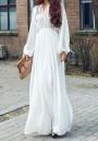8fe5ac8b41b00 White Draped High Waisted Deep V-neck Long Sleeve Flowy Bohemian Beach Maxi  Dress