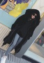 Black Draped Pockets Zipper Faux Fur Oversize Hooded Long Sleeve Thick Coat