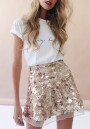 Golden Plain Glitter Sparkly Sequin Grenadine High Waisted Cute Skater Mini Skirt