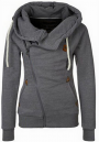 Dark Grey Pockets Badge Drawstring Hooded Long Sleeve Casual Hooded Sweatshirt