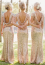 Golden Plain Sequin Backless Short Sleeve Maxi Dress